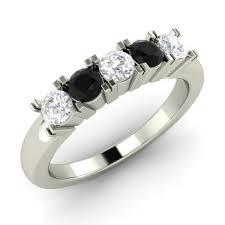Black Diamond Wedding Rings by Pentagon Ring With Round Vvs Diamond Black Diamond 0 5 Carat