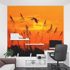 heron reed sunset wall mural heron reed sunset wall mural home office