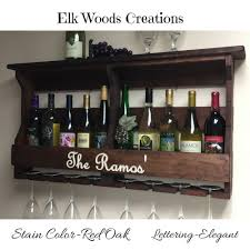 personalized rustic wall mounted wine rack engraved personalized