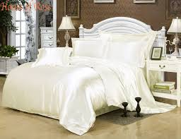 Luxury White Bed Linen - luxury milk white silk satin bed sheet set duvet cover hotel bed