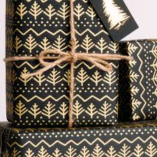 black wrapping paper pine tree gift wrap gold on black
