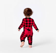 infant trailing buffalo plaid union suit matching