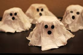 halloween craft papier mache ghosts warm chocolate