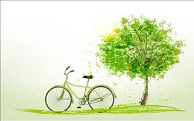 summer background with green tree and bike vector vector