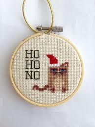 cross stitch grumpy cat wears santa hat hoop ornament