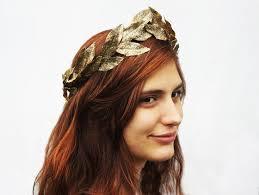 goddess headband gold leaf tiara metallic gold goddess crown leaf