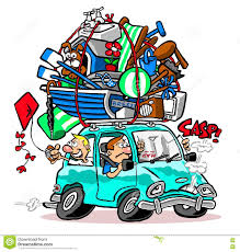 teal car clipart cartoon car packed for vacation stock photo image 76013478