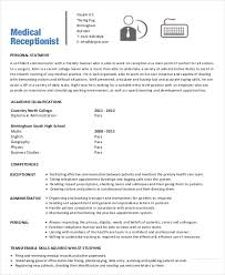 Sample Resume For Front Desk Receptionist by Medical Receptionist Resume Front Desk Medical Receptionist