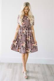dusty lilac cream floral modest summer dress cute modest clothes