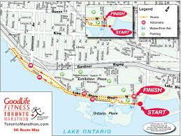 Running Map Route by Race Maps Goodlife Fitness Toronto Marathon
