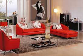 living room fascinating colour schemes with modern red sofa and
