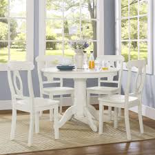 Dining Chairs White Wood Dorel Living Aubrey 5 Piece Traditional Height Pedestal Dining