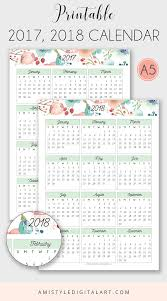 where can i buy a calendar printable calendar 2017 2018 embellished with watercolor floral