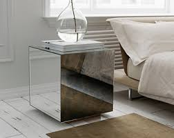 cube mirror side table view mirrored furniture by mirrorcooperative on etsy