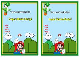 A Birthday Invitation Card Super Mario Birthday Invitations Kawaiitheo Com