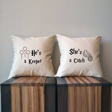 she u0027s a catch he u0027s a keeper harry potter pillow cover