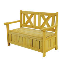Wooden Patio Bench by Leisure Season Bench With Storage Sb6024 The Home Depot