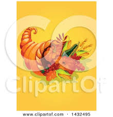 clipart of a sketched thanksgiving cornucopia with vegetables