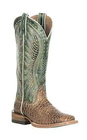 womens boots green ariat s vaquera elephant print with green