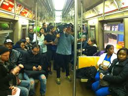 cast and crew film a halloween scene in the subway u2039 seethink films