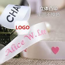 ribbon with names company custom raised logo printing satin ribbons wedding birthday