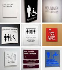 in all gender restrooms the signs reflect the times the new