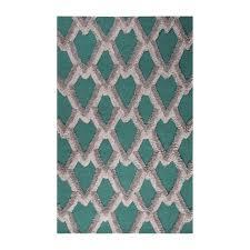 Geometric Area Rug by Modern Geometric Feathers Pattern Wool Area Rug Blue 8 U0027l X 10