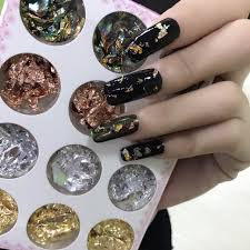 12 pot kit nail art foil paper gold silver paillette flake polish