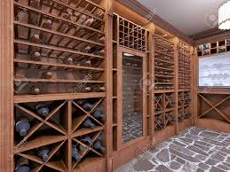 wine cellar in the basement of the house in a rustic style open