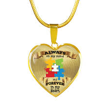 luxury necklace images Always on my mind and forever in my heart autism heart png