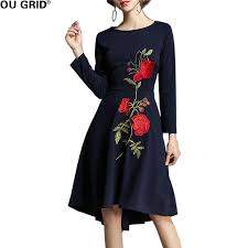 big blue party blue party dress women flower embroidery sleeve big