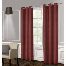 raw silk textured grommet curtain panel chili 84 in at home
