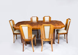 antique art deco burr walnut dining table 6 chairs c1930