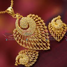necklace pendant designs gold images Ps4132 ad stones peacock design fancy jewellery pendant set gold JPG