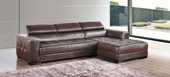 brown genuine leather modern sectional sofa w tufted seats