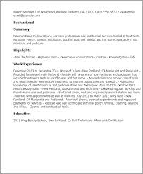 French Resume Examples by Professional Manicurist And Pedicurist Templates To Showcase Your