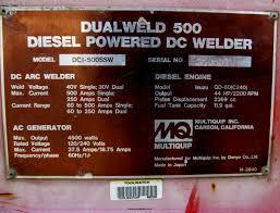 multiquip dual weld 500 dc welder generator item f7283 s