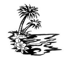 black ink water and palm tree design