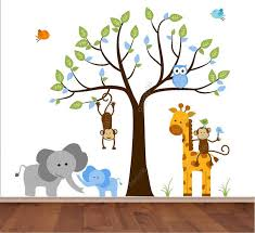 Boys Nursery Wall Decals Tree Wall Decal Jungle Wall Decal Baby Boy Elephant With