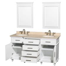 60 Inch White Vanity Berkeley 60 Inch White Finish Bathroom Vanity With White
