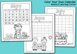 color fun printable calendar for kids 2016 mamas learning corner