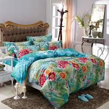 Tropical Duvet Covers Queen Aqua Blue Green And Red Tropical Fern Botany And Flower Print Sun