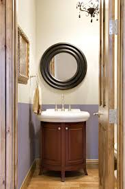 Decorating Powder Rooms Furniture Inspiration Cool Black Rounded Mirror Over White Single