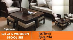 coffee table and stool set space saver economic wooden set of 4 stools and coffee table