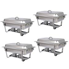 4pcs stainless steel catering folding chafer chafing dish sets