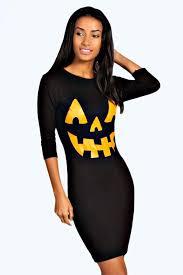 hayley pumpkin print halloween bodycon dress boohoo