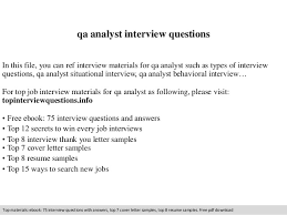 Qa Analyst Resume Sample by Qa Analyst Interview Questions
