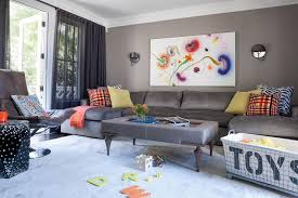 gray family room with gray u shaped sectional contemporary