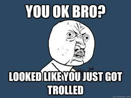 Trolled Meme - you ok bro looked like you just got trolled y u no quickmeme