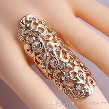 big ladies rings images Wedding rings women lady hollow flower crystal rhinestone cuff big jpg